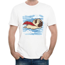 2017 Funny Cool  Flying Pug dog T-Shirt Summer Novelty Custom Animal Printed T Shirt High Quality Male Short Sleeve Tee Tops