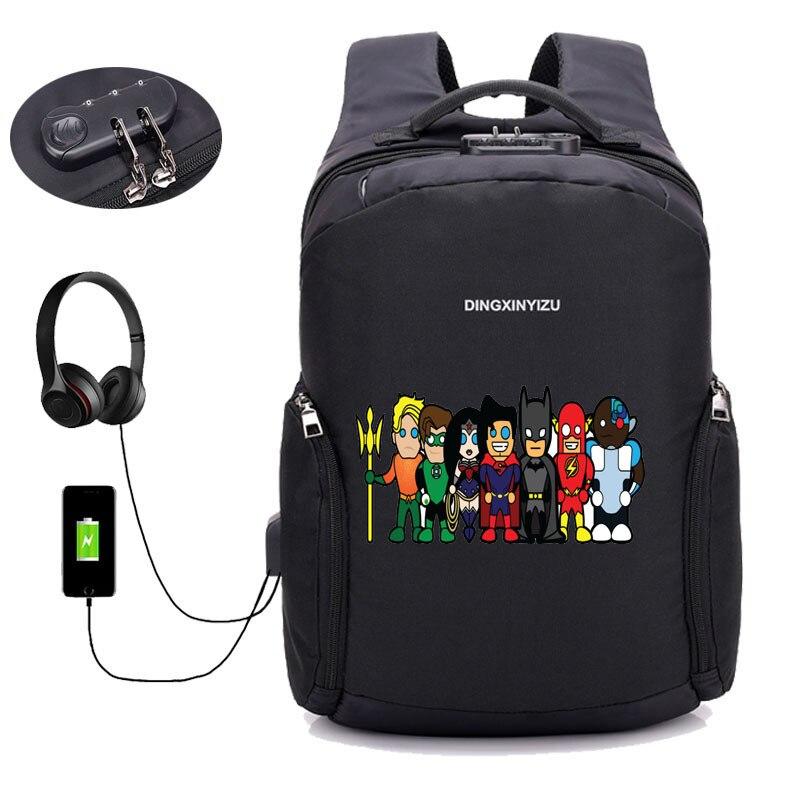 Sacs à dos antivol USB Charge sac à dos Deadpool sac à dos ordinateur portable femmes hommes homme sac à dos de voyage - 6