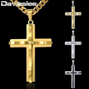 ba0862715392 Davieslee curvo Cruz colgante collar de cadena para hombre curb cubano enlace  acero inoxidable negro oro plata tono 18-36 pulgadas DKPM137