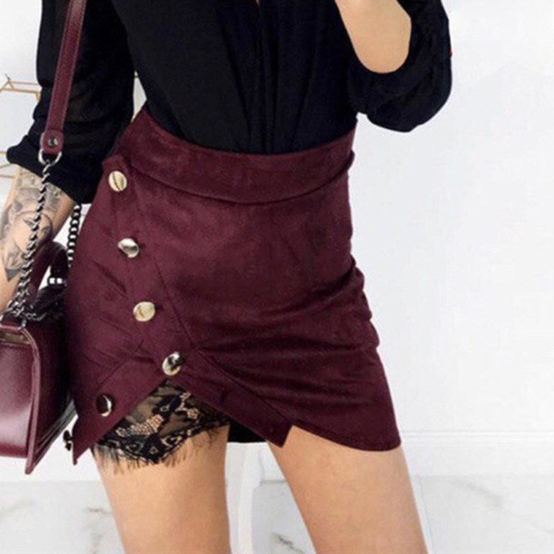 Leather Suede Lace Pencil Skirts Micro Mini Black Red Pink High Waist Sexy Wrap Asymmetr ...