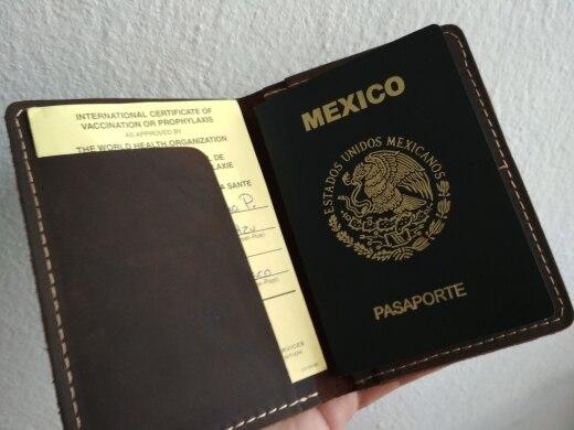 Vintage heren Echt lederen paspoorthoes reispaspoorthouder Tas Lederen paspoorthoesje Portemonnee licentie creditcardhouder photo review