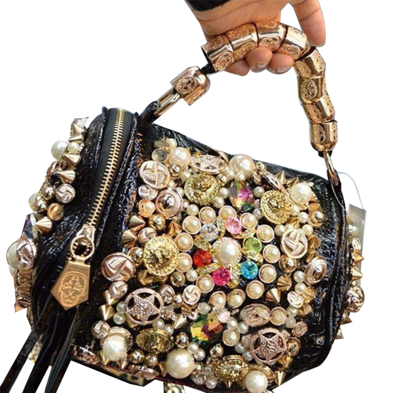 2018 Women Bag European American Trend With Diamond Ladies Handbag Handmade Beaded Shoulder Bag Pillow Bag