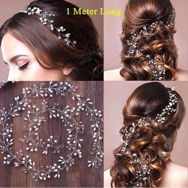 2018 bohemia 1m long headbands tiaras pearls rhinestone wedding hair accessories hairbands crowns and tiaras for