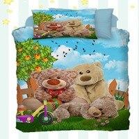 Sonst 4 Stück Frühling Natur Braun Teddy Bears Vögel Baum 3D Druck Baumwolle Satin Baby Bettbezug Bettwäsche Set Kissen fall Bett Blatt|Bettbezug|   -