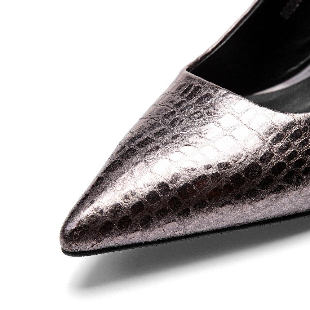 Mujeres Nuevas gris Bombas Zapatos 5 Cm verde Negro Moda Cuero Para 2019 Amarillo Tacón Las De 7 Alto S4gxqWaE