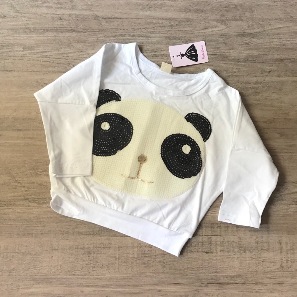 New Panda Long Sleeve Tops+Striped Pants Girls Autumn Winter Clothes Set 2Pcs Outfits Kids Baby Clothing Sets