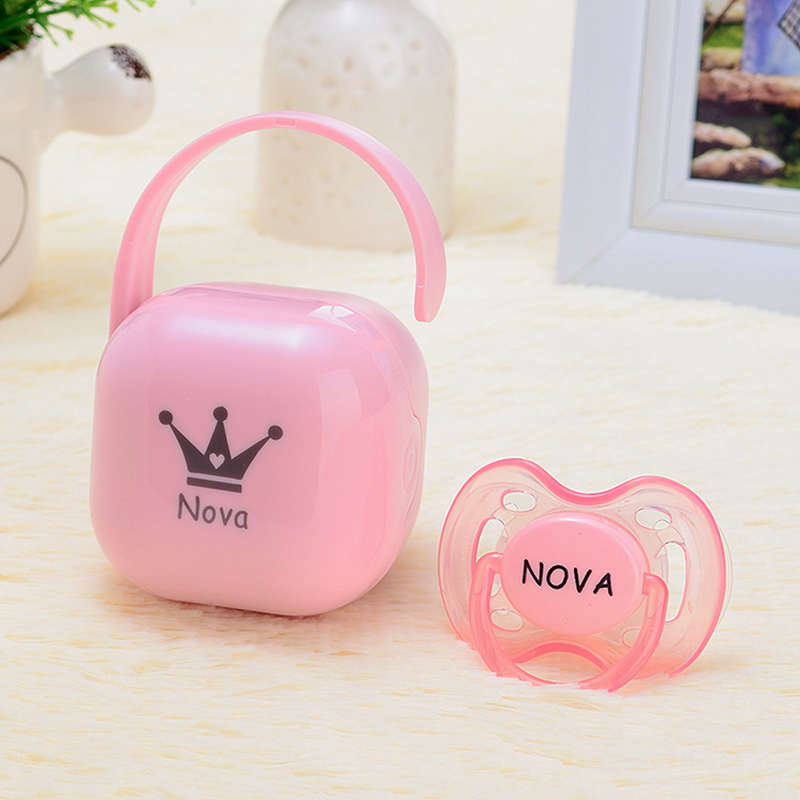 MIYOCAR personalized any name can make Pacifier Storage Box Nipple Dustproof Soother Container gift baby shower custom pacifier baby toys