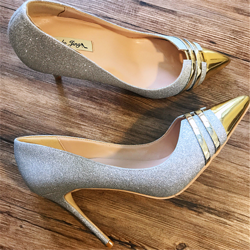 Free shipping fashion women Pumps Silver Glitter printed Pointy toe high heels shoes size33-43 12cm 10cm 8cm wedding shoes sexy glitter women shoes metal heel sequined shoes pumps 8cm or 10cm or 12cm high heels pointed toe wedding bridal shoes