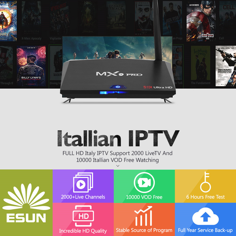 With 1 Year MX9 Pro Italy IPTV RK3328 2G/16G Italy IPTV EPG 4000+Live+VOD configured Europe Albania ex-yu XXX channels BOX italy iptv a95x pro voice control with 1 year box 2g 16g italy iptv epg 4000 live vod configured europe albania ex yu xxx