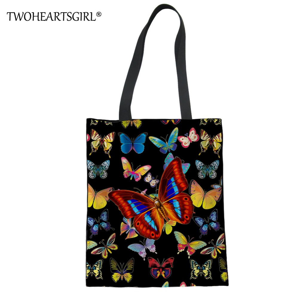 TWOHEARTSGIRL Butterfly Female Handbag Large Capacity Daily Women Single Shoulder Tote Bag Big Travel Shopping Beach Handle Bag