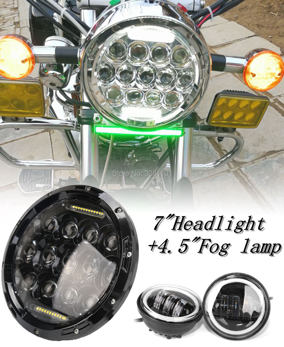 7 LED Headlight 78W High Beam with DRL +2 PCS 4.5 Fog lamp with white Angel Eyes for 2003 Harley-Davidson Heritage Springer 2pcs 2017 new design 7 inch 40w motorcycle led auto angel eyes led headlight bulb with high quality