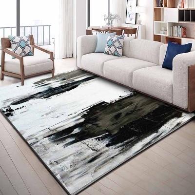 Else Gray Black White Scandinavian Watercolor 3d Print Non Slip Microfiber Living Room Decorative Modern Washable Area Rug Mat