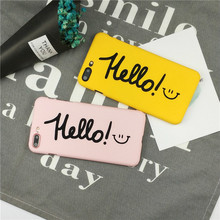 XINDIMAN Hello simple letter case for iphone 6 6s 6plus hard plastic yellow covers 7 7plus 8 8plus fundas