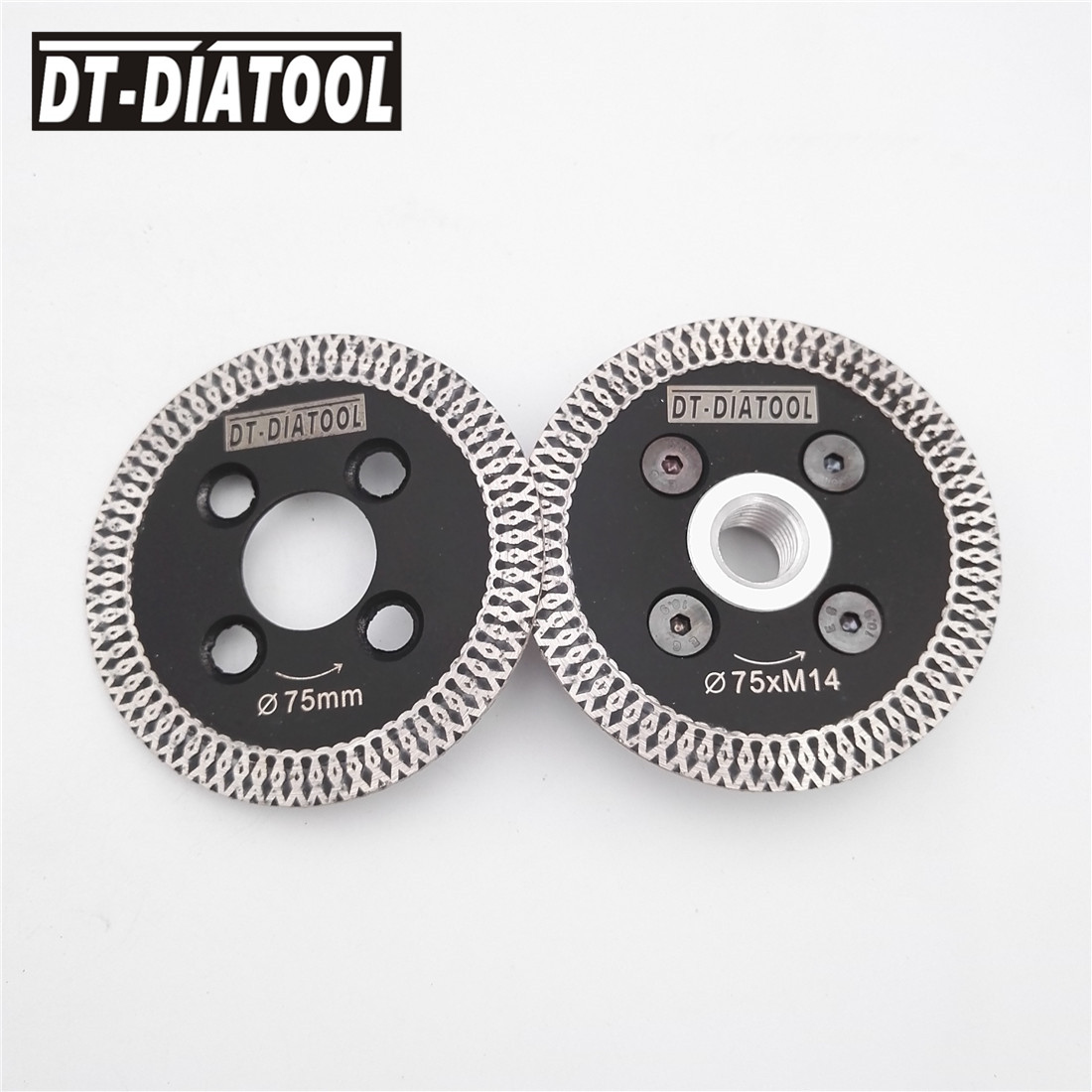 DT-DIATOOL 2pcs 75MM Hot pressed mesh turbo diamond saw blade 1pc removable M14 flange cutting carving disc for stone marbleDT-DIATOOL 2pcs 75MM Hot pressed mesh turbo diamond saw blade 1pc removable M14 flange cutting carving disc for stone marble