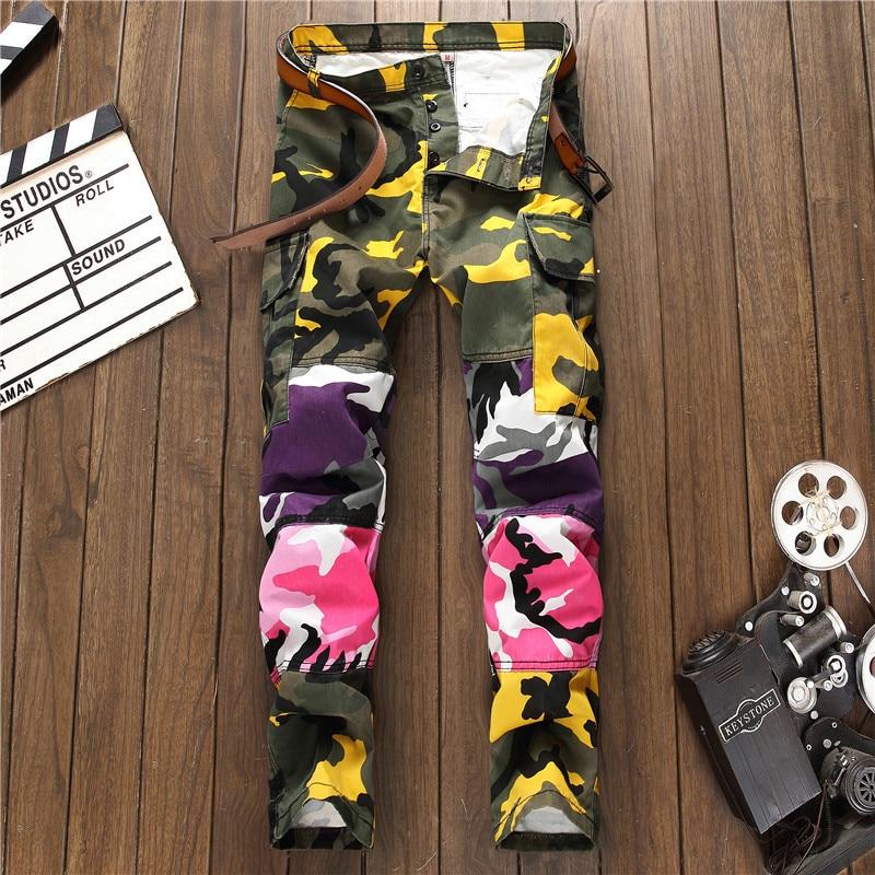 New Colorblock Desginer Camouflage Trousers Fashion Slim Denim Long Trousers