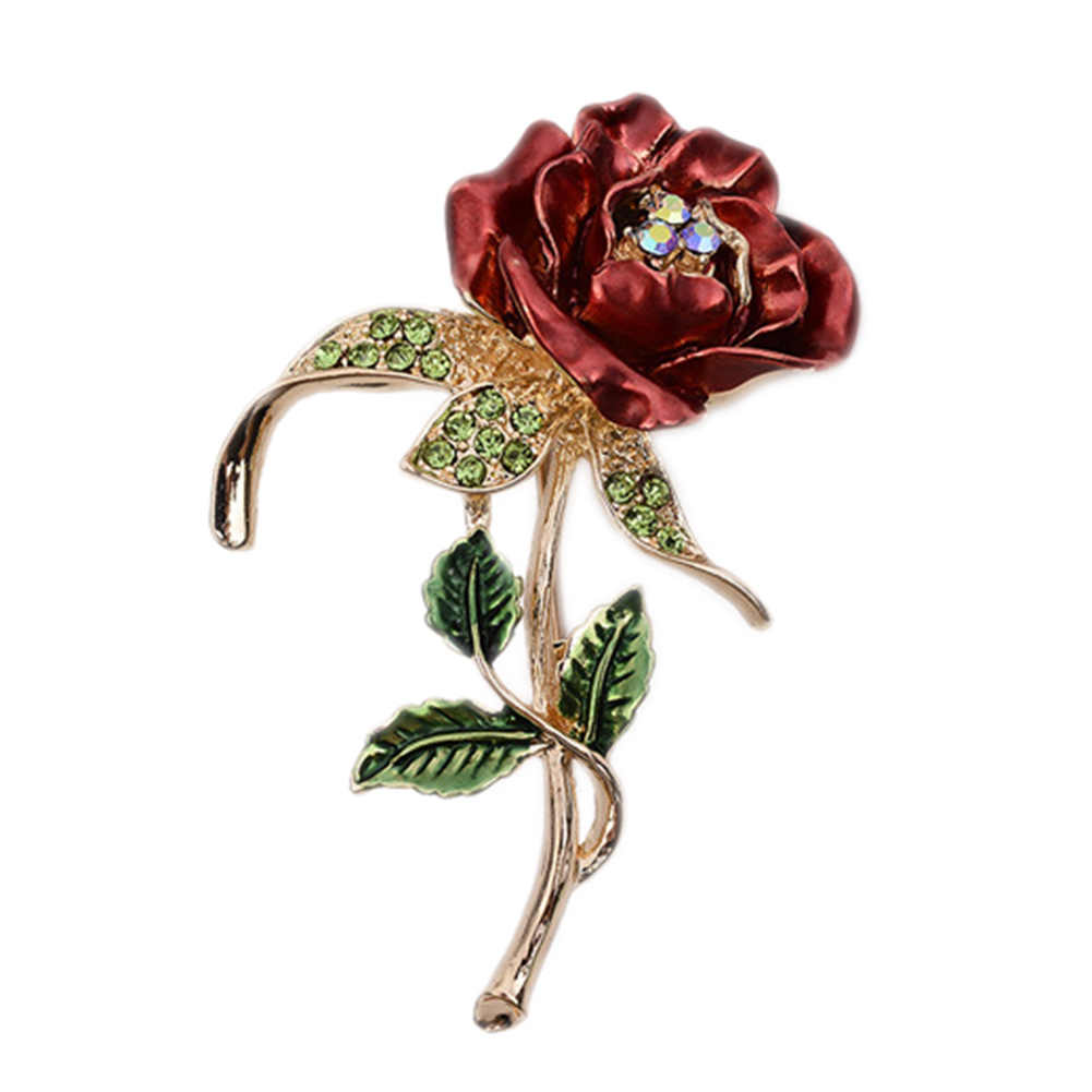 1 PCS Red Rose Flower Bros Garment Accessories Wedding Bridal Jewelry Kristal Bros untuk Pria/Wanita