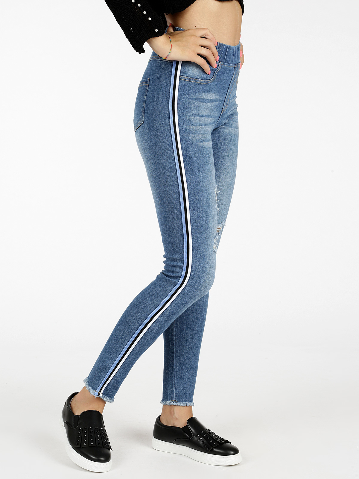 Jeggings With Tears And Side Stripes