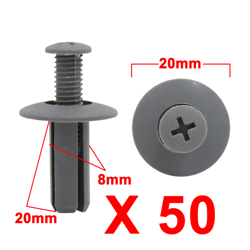 20 Pcs Black Plastic Splash Guard Fastener Rivet Clips 10mm x 17mm x 20mm