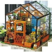 Imagine 3D DIY House Model Kit Greenhouse Miniature LED Light Dolls House Build Toy Gifts For Children