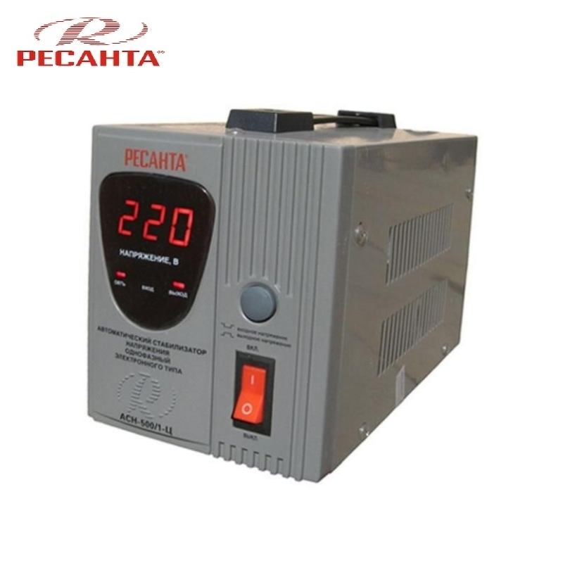 Single phase voltage stabilizer RESANTA ASN-500/1-C Relay type Voltage regulator Monophase Mains stabilizer Surge protect voltage regulator resanta asn 12000 n1 c