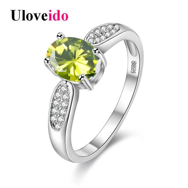 Uloveido старинные женские кольца серебряные кольца с камнями анель женщина  для ювелирные изделия обручальное кольцо анель e69c455c595f3