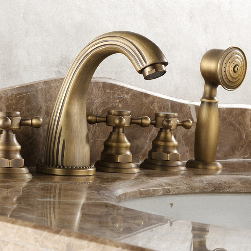 Luxuary Bathroom Two-Handle High Arc Roman Tub Faucet and Hand Shower without Valve, Antique Brass Color, Solid Brass Material luxuary bathroom faucet antique brass two handle wall mounted 550f 00
