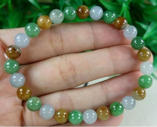 100% натуральный зеленый + светло зеленый + Tawny JADES бусины из нефрита браслет 7 мм> Продажа девушек жемчужный браслет Бесплатная доставка
