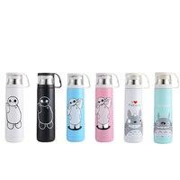500ML Cartoon Anime Stainless Steel Water Bottle Cute Thermos Drinkware Bullet Shape Portable Vacuum Coffee Tea