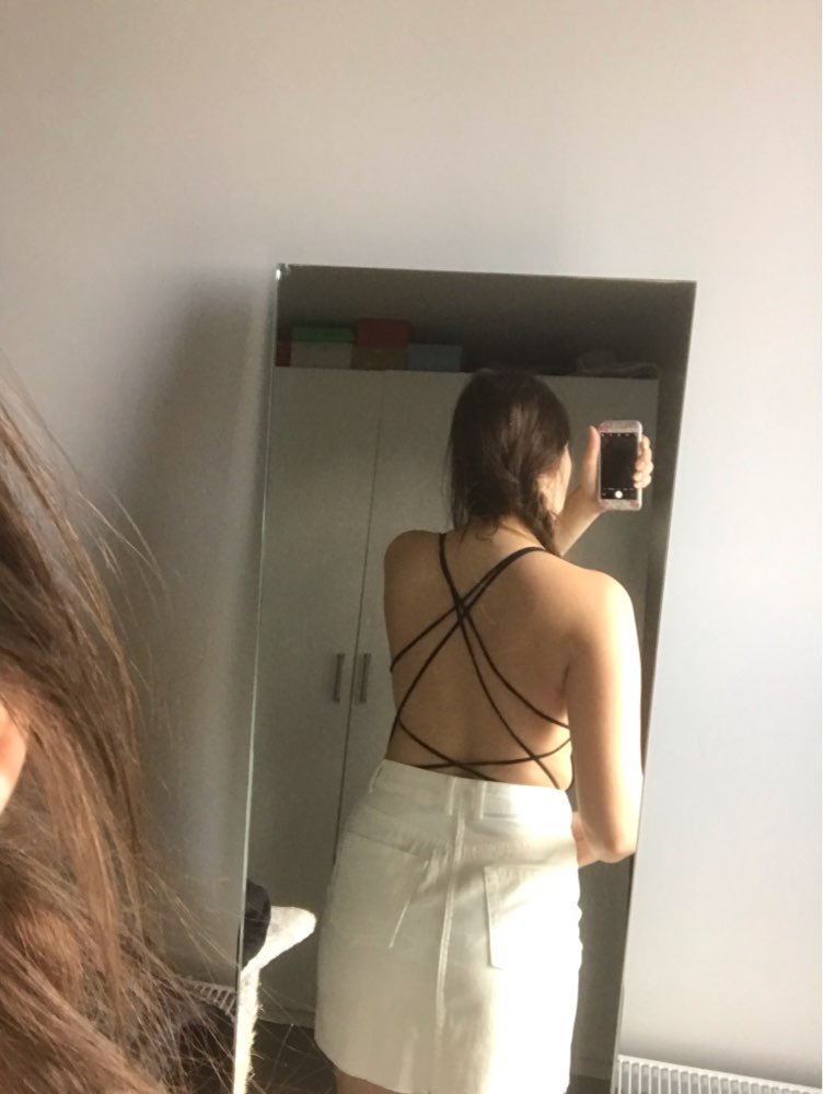 Black Strappy Backless Sexy Bodysuit Scoop Neck Low Waist Sleeveless Skinny Women Summer Party Club Bodysuits photo review