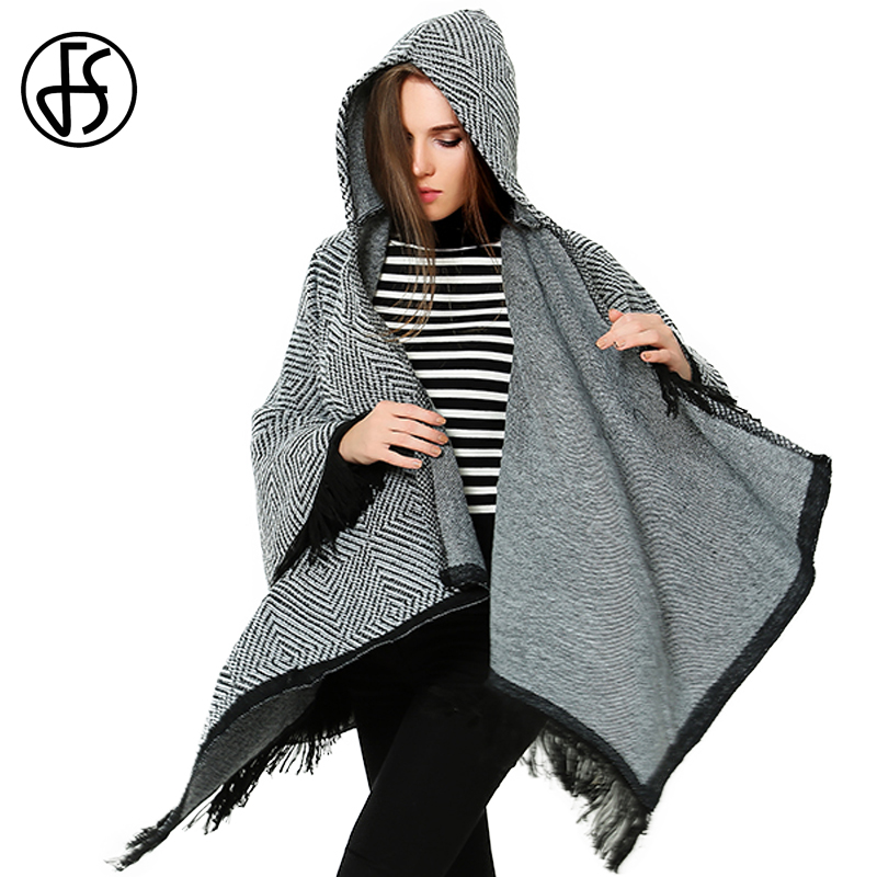 FS Cashmere Wool Poncho Coat Knitted Hooded Geometric Women Cardigan Cape Winter Warm Korean Style Thick Pashmina   Wrap     Scarves