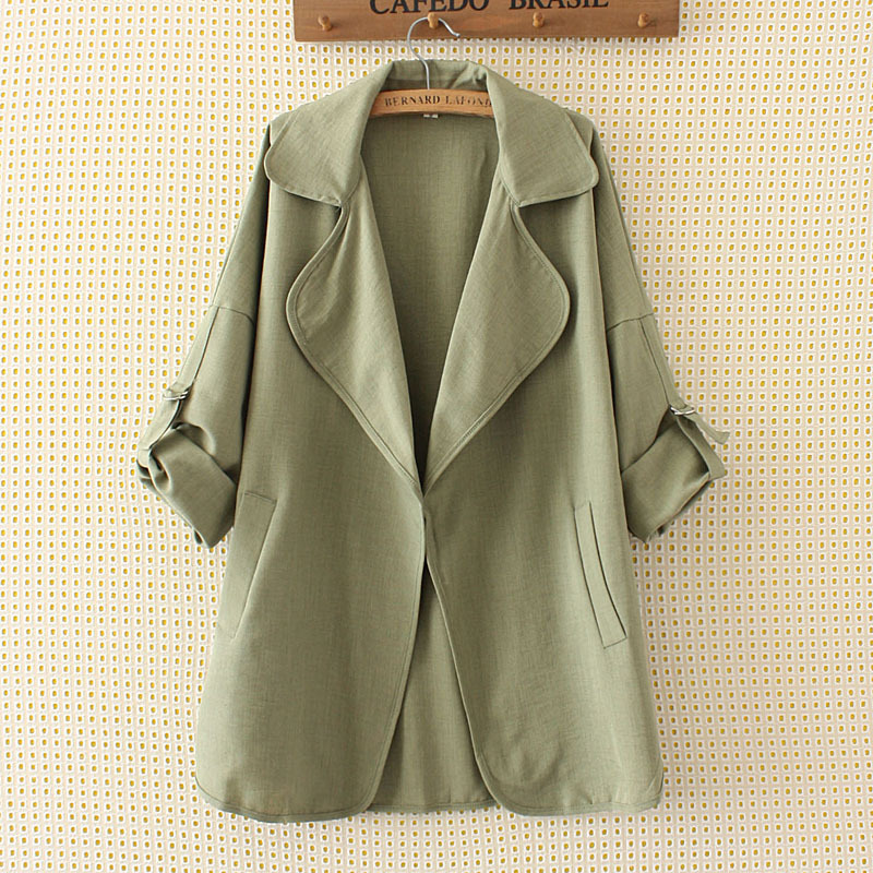 Women Spring Autumn Jackets Office Lady Wear To Work Coat Casual Fashion Rull Up Sleeve Plus Size 5XL Windbreaker Outerwear LD11