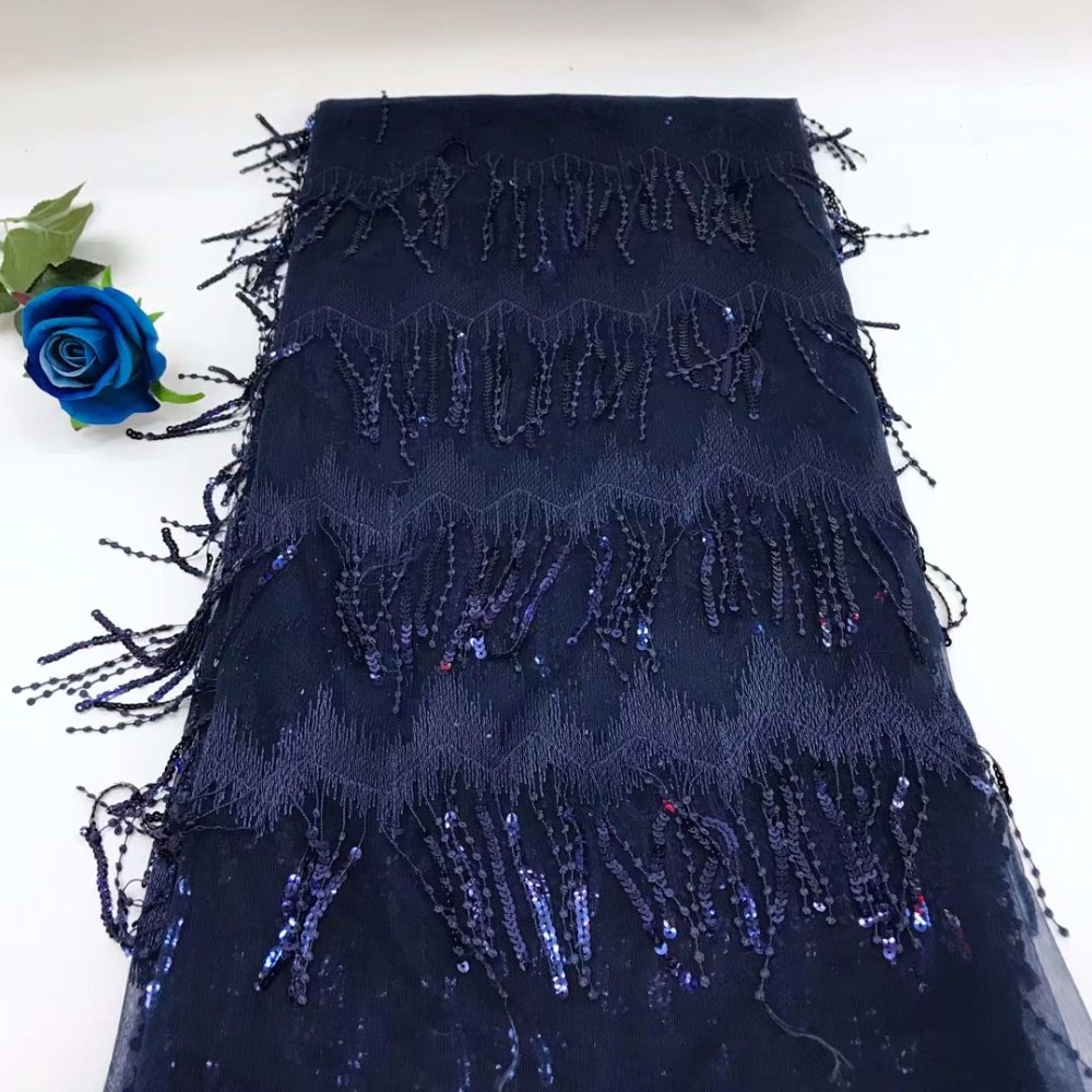 latest African tassel lace fabric high end African French lace embroidery 3D sequins lace Latin dresses