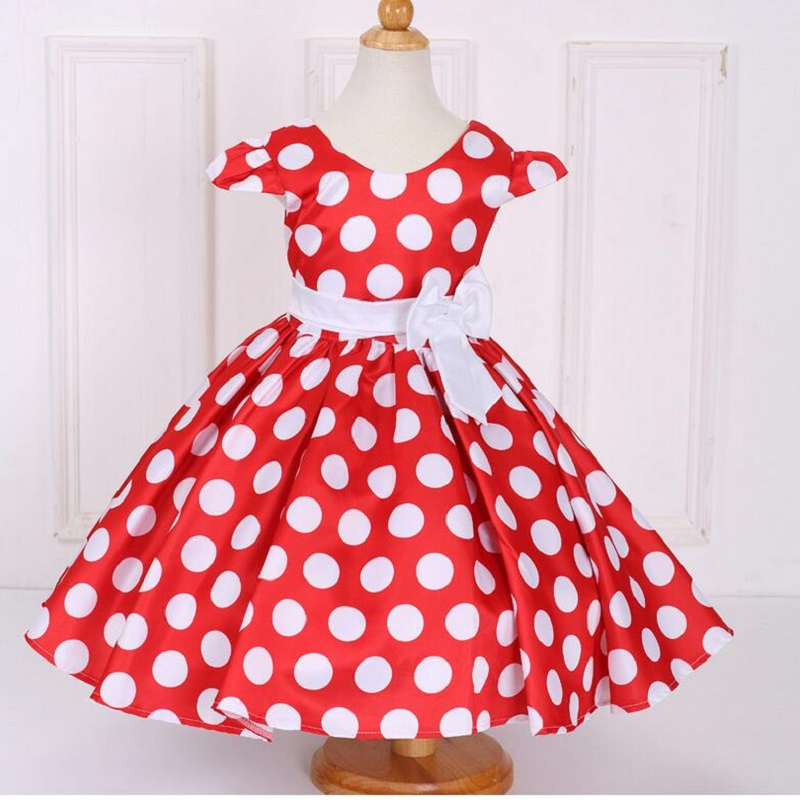 2017 Kids Frock Classic Vintage Dress Children clothes girls polka dot dress Baby princess Christmas dress For 2 4 6 8 10 Years ladybird appliques dress wholesale clothing for girls princess baby boutique o neck clothes children polka dot dresses 6pcs lot