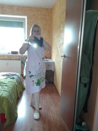 Summer Dress Plus Size Short Sleeve White Women Dress Casual Cotton Linen Dress Lotus Printing O Neck Vestidos de Festa photo review
