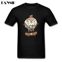 Hip Hop T Shirts Man Custom Cotton Short Sleeve Skate Or Fly Funky Owl Family Tops