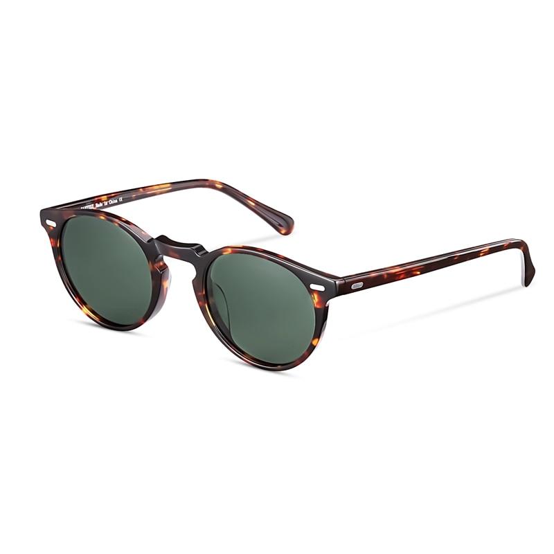 Lunettes de soleil polarisées rondes rétro pour hommes et femmes Vintage conduite en plein air Gregory Peck lunettes de soleil avec étui