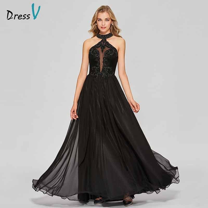 Dressv Party-Gown Appliques Backless Evening Elegant Black Long Scoop Floor-Length Customize