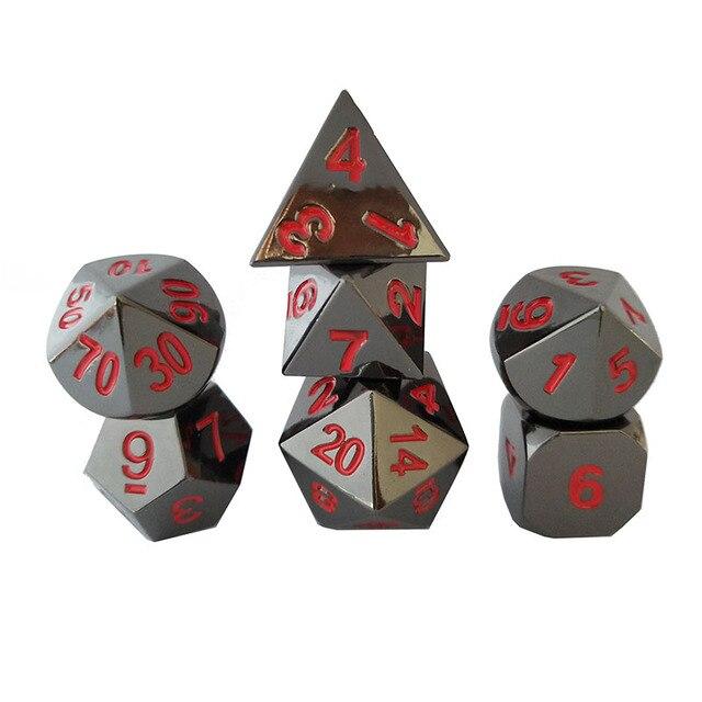 Atacado e varejo nova fonte cor dungeons & dragons 7 pçs/set criativo dice RPG D & D dados de metal galvanizado níquel preto vermelho