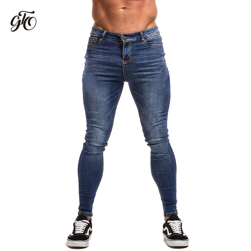300ddf4d2131c5 Gingtto Blue Jeans Slim Fit Super Skinny Jeans For Men Street Wear Hio Hop  Ankle Tight