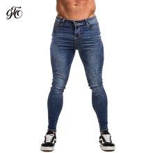 Gingtto pantalones vaqueros azules ajustados para hombre, Vaqueros Super ajustado para ropa de calle para hombre, Hio Hop, ajustados al tobillo, cortados de cerca al cuerpo, elásticos de talla grande zm05