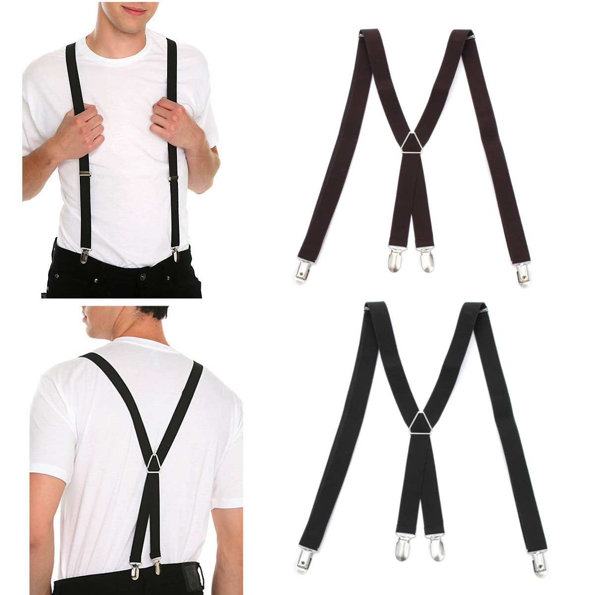 Men X-Back Clip Suspenders Adjustable Elastic Braces Supports Pant Clothing Accessories Unisex Women Trousers Braces Holder