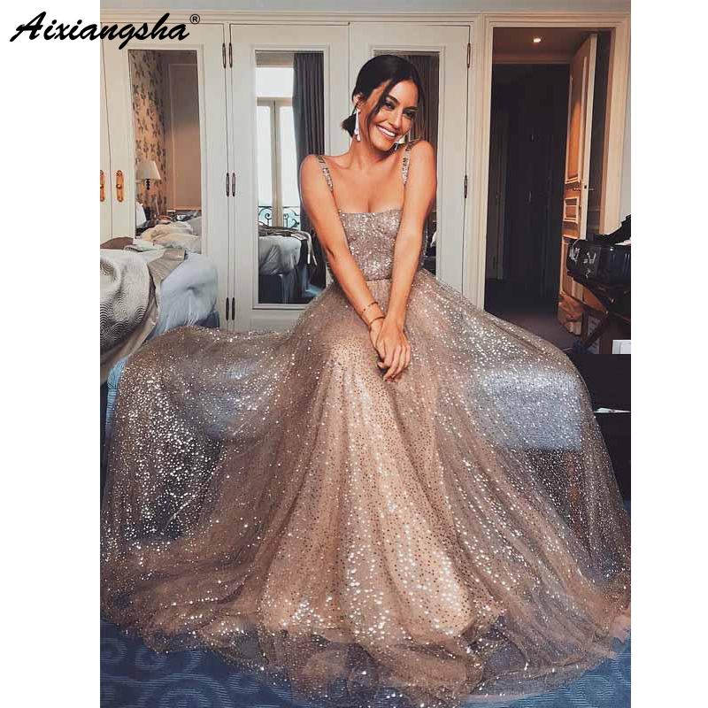 Sparkly Gold Sequin Square Collar A-line Spaghetti Strap Cheap Long Prom Party Evening Gown Custom Made Prom Dresses