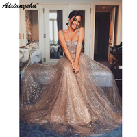 Sparkly Gold Sequin Square Collar A line Spaghetti Strap Cheap Long Prom Party Evening Gown Custom Made Prom Dresses