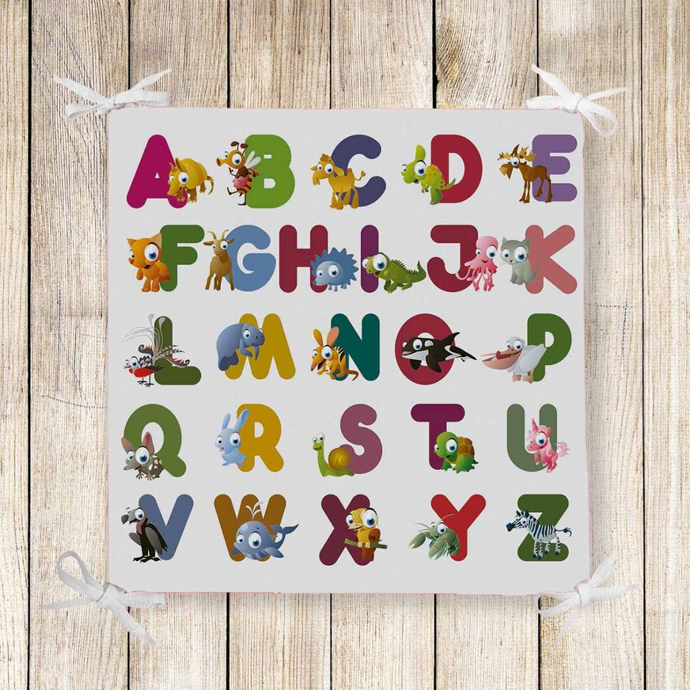 Else Educational Funny Letters Animals Kids 3d Print Chair Pad Seat Cushion Soft Memory Foam Full Lenght Ties Non Slip Washable