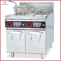 DF26 2A free standing vertical electric fryer with timer with 2 tanks 4 baskets for food fried
