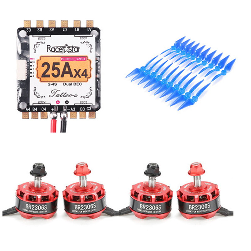 Racerstar RS2306 2400KV 2-4S Motor & Tatto_S 25A Blheli_32 Dshot1200 ESC & 10X 5038 2-Blade Propeller for RC Racing Drones Frame