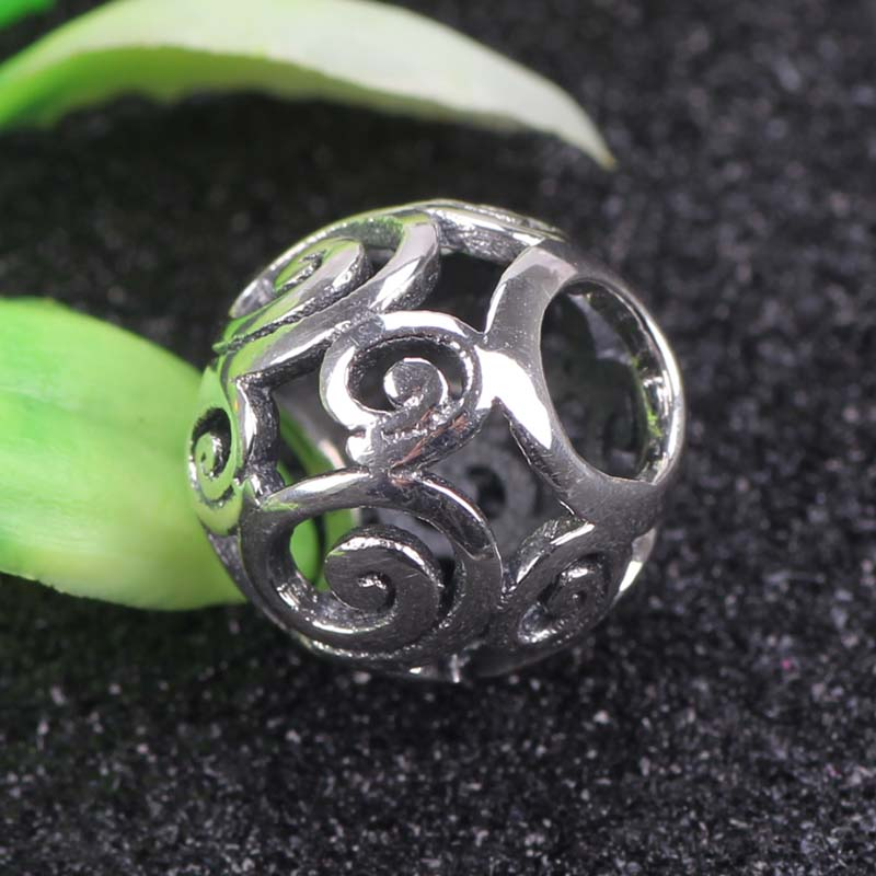 Hollow fashion jewelry type S925 Sterling Silver beads or charm for bracelts