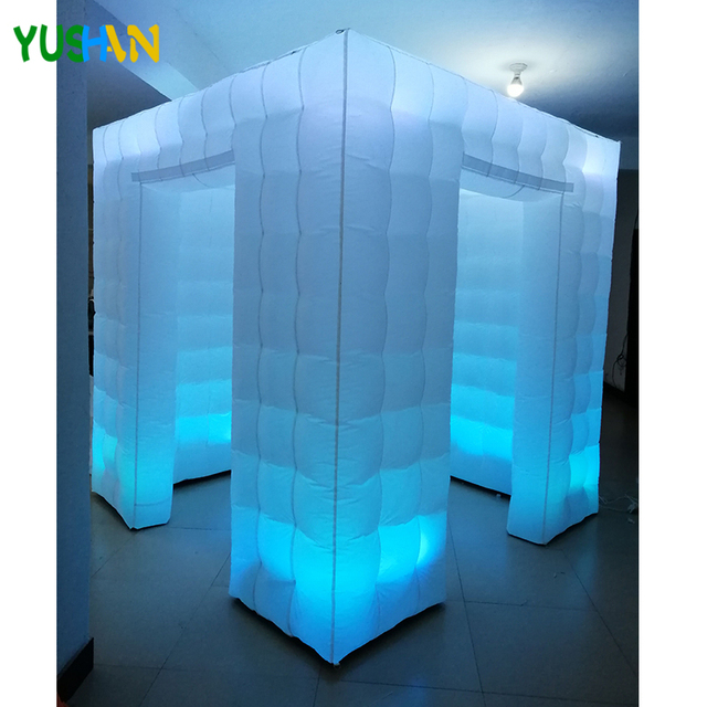 8ft cube Led light inflatable photo booth best quality photo booth frames with LED strips bottom Inflatable Tent For Parties
