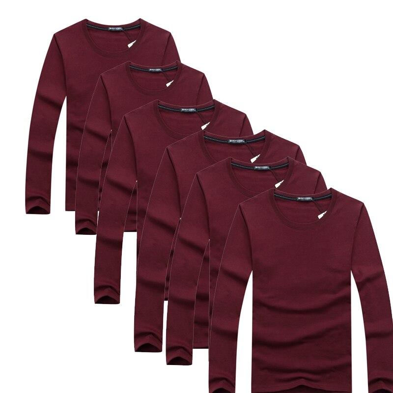 6 pcs/lot nouvelle marque de mode o-cou Slim Fit à manches longues T-Shirt hommes tendance décontracté hommes femmes T-Shirt coréen t-shirts 4XL 5XL