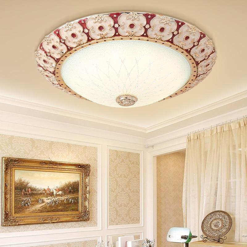 European style Round Glass Ceiling Lights warm romantic simple LED bedroom light crystal ceiling lamp AC110-240V Modern LED lamp